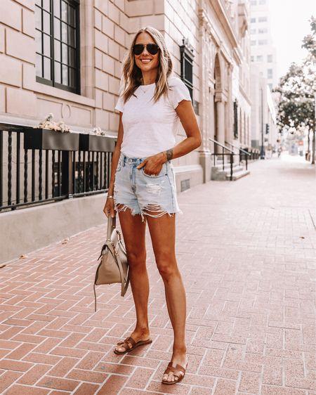 Fashion jackson wearing Abercrombie denim shorts (light shredded wash), jean shorts, ripped shorts, summer fashion, cutoff shorts, sandals, sunglasses, white T-shirt http://liketk.it/2QF6I #liketkit @liketoknow.it #LTKstyletip #LTKspring #LTKshoecrush #LTKunder100 #LTKunder50