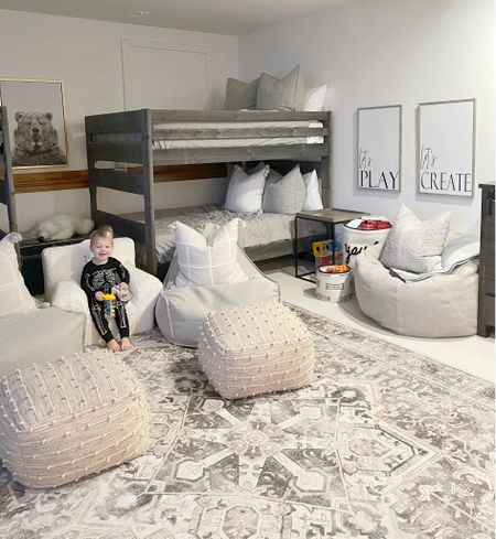 H O M E \ neutral play room! Mixing creams and grays👏🏻👏🏻 LOVE this washable #rug Perf for high traffic areas👌🏻 Linking the #playroom here!  #bedroom #bunkroom #kidsroom #nursery #bunkbeds #chairs #kids  #LTKkids #LTKhome #LTKfamily