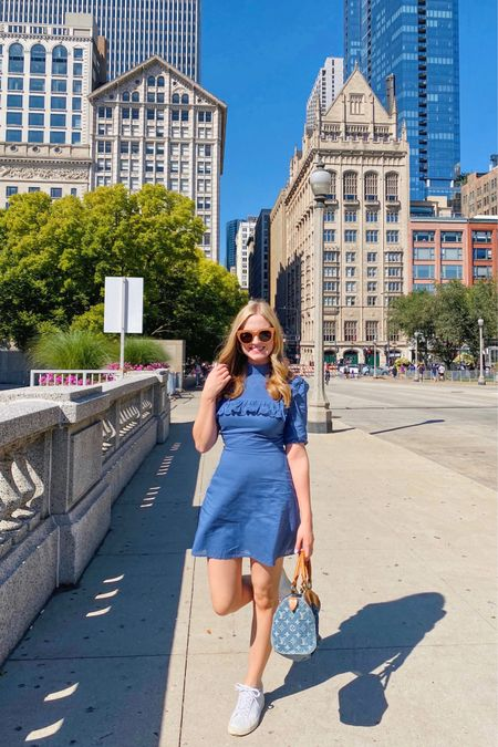 The best walking shoes and perfect lightweight dress to explore the city! #reformation #vejas #sneakers #lespecs #sunglasses #dresses   #LTKtravel #LTKfit #LTKitbag