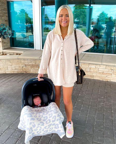 Zuma sweater set (XS) with Nike Air Force 1 shadows (6.5)! UPPAbaby Jake car seat with baby Barefoot dream blanket  Custom name necklace is 15% off with KELSIE15   http://liketk.it/3ieJA @liketoknow.it #liketkit #LTKbaby #LTKfamily #LTKbump