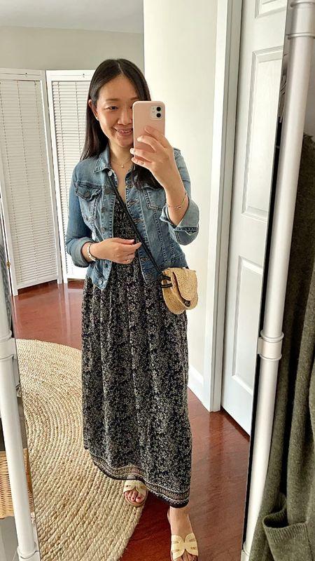 Jacket size XXS petite (empathetic wash). Dress size XS. Sandals true to size.  #LTKshoecrush #LTKstyletip #LTKunder100