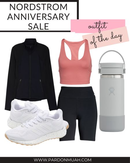 Nordstrom anniversary sale in stock outfit of the day! Pair bike shorts with a long line sports bra and zip up jacket.   #LTKsalealert #LTKunder100 #LTKSeasonal