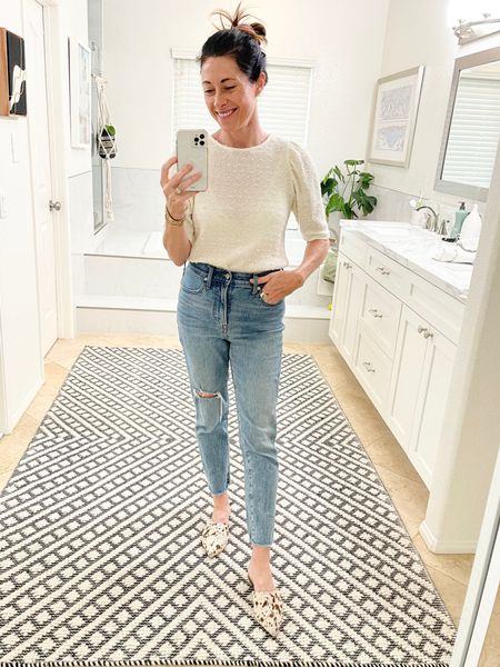 Trying out my nee @able Tracy Mule, jeans @madewell perfect vintage jean, shirt from @threadandseed in San Diego    #LTKSale #LTKstyletip #LTKshoecrush