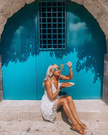 White dress - bridal dress - wedding dress - lace dress - floaty dress - Amazon fashion - Amazon style - Amazon dress - white lace dress - occasionwear - occasion dress - special occasion dress - blue sunglasses - round sunglasses - raybans - Ray ban sunglasses - white blonde hair - purple shampoo - Olaplex purple shampoo - Olaplex blonde enhancer   #LTKbeauty #LTKwedding #LTKsalealert