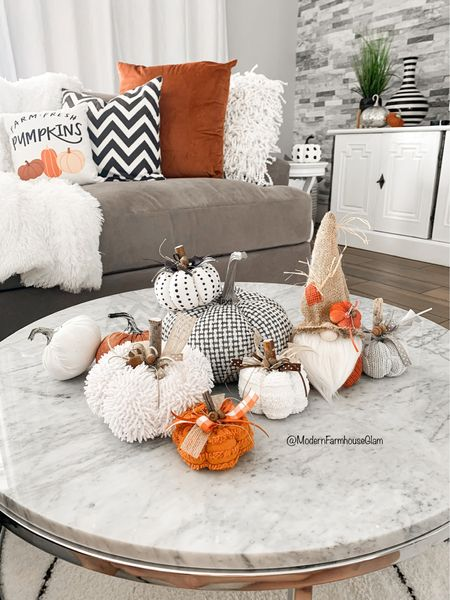 Pumpkins! Fall decor idea for coffee table and livingroom at ModernFarmhouseGlam I have some gnomes linked on www.modernfarmhouseglam.com under Shop My Amazon👻  Marble coffee table, gray sectional sofa couch, white curtains, media console tables, neutral area rug, white and black rug, living room furniture, fall pillows cb2 pottery barn Wayfair Amazon home    Follow my shop @modernfarmhouseglam on the @shop.LTK app to shop this post and get my exclusive app-only content!  #liketkit #LTKHoliday #LTKSeasonal #LTKhome @shop.ltk http://liketk.it/3opjU  #LTKhome #LTKSeasonal #LTKHoliday