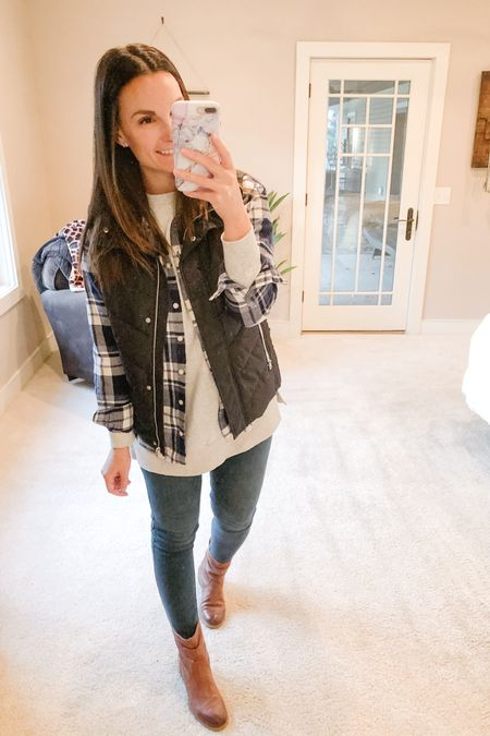 You can't get anymore fall than this look right here!! Layers, plaid flannel and puffer vest!  We have a full day of a hockey, soccer, and trick or treating and the sun is shining!!!   http://liketk.it/3018K #liketkit @liketoknow.it   You can instantly shop my looks by following me on the LIKEtoKNOW.it shopping app