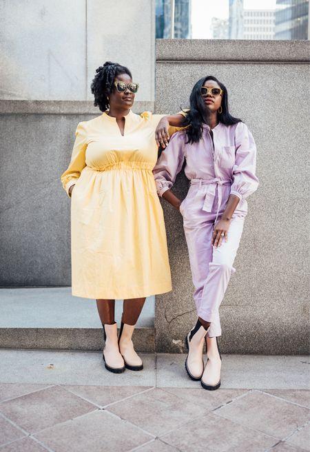 Bruch outfits! Pastel purple puff sleeve jumpsuit, white lug Chelsea boots and pastel yellow v neck dress.   #LTKshoecrush #LTKHoliday #LTKfamily
