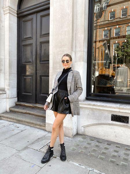 Blazer, leather shorts, boots