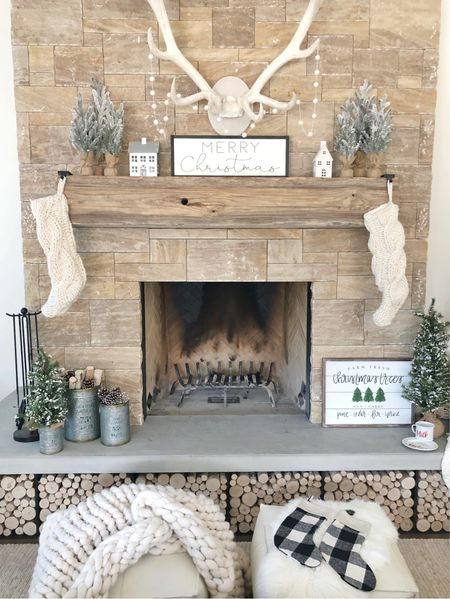 H O L I D A Y \ #christmas mantel and hearth✨  #holidaydecor #christmasmantel #christmasdecor #farmhouse   #LTKhome #LTKHoliday