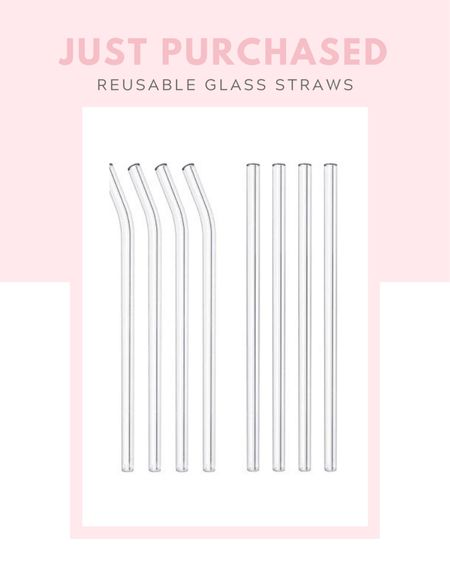 """Just purchased: 8 Pack Reusable Glass Drinking Straws - 10"""" x 10 mm - Smoothie Straws for Milkshakes, Frozen Drinks, Smoothies, Bubble Tea - Environmentally Friendly, budget friendly, under $10, gift idea, for the home, kitchen, Amazon find, iced coffee, smoothies   #LTKunder50 #LTKGiftGuide #LTKhome"""