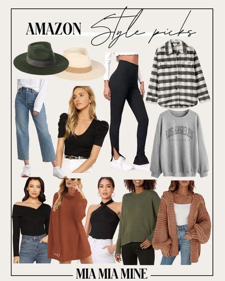 Amazon fall fashion picks - plaid shacket, free people tunic sweater dupe, split hem leggings, chunky knit cardigan  #amazon  #LTKunder100 #LTKunder50 #LTKSeasonal