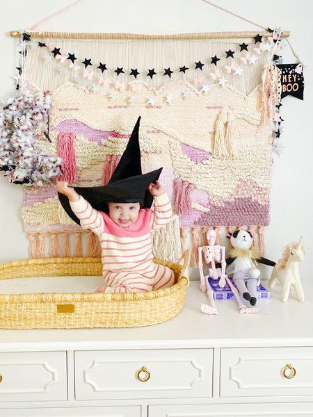 Halloween decor, baby girl nursery, baby girl clothes, witch hat, pink Halloween decor, pottery barn kids  #LTKbaby #LTKfamily #LTKhome