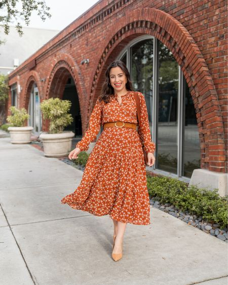 Best rust floral midi dress, perfect for fall (also works for maternity!). 40% off today, I'm wearing a size S    #LTKSeasonal #LTKsalealert #LTKbump