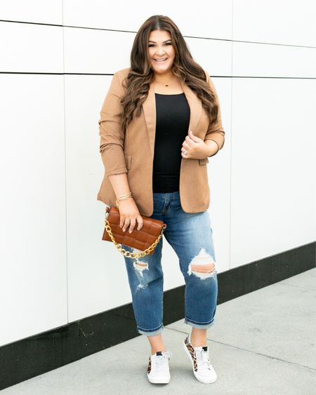 How would you describe your fashion style? Mines kind of all over the place! I've been having fun playing around with different styles lately and love how this combo turned out! Blazer is only $35 and the perfect pairing with these GG dupe sneakers!   @walmartfashion @walmart #walmart #walmartfashion #plussizefashion #plussizestyle #affordablefashion #walmartfinds #summerfashion #whatimwearingtoday #bossbabe #LTKCurve #LTKCurves #LTKShoeCrush #LTKitbag