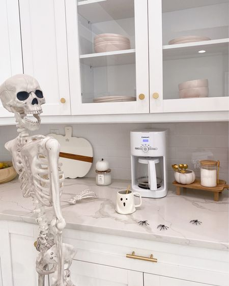 I'd be dead without my coffee 💀 look who's back... it's Skelly Clarkson! It's her first debut in the new house and she's already acting like she owns the place 🤣    Halloween decor, coffee corner, kitchen, skeleton, Target   #LTKSeasonal #LTKhome #LTKunder100