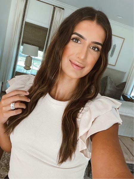 Weekend makeup and ruffle top   #LTKbeauty #LTKunder50