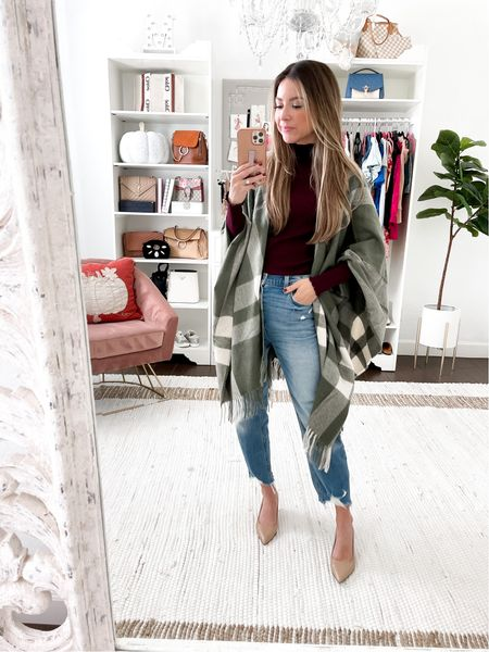 Fall shawl one size  Wine turtleneck small Jeans similar