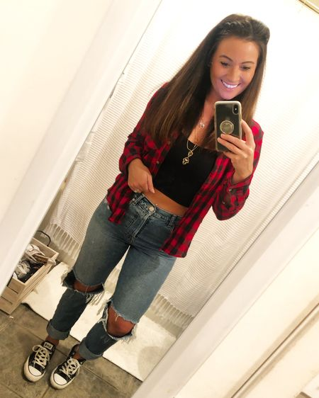 Buffalo plaid button down paired with black crop top, boyfriend jeans and low top classic black converse sneakers ❤️🖤✨   #liketkit #LTKunder50 #LTKunder100 #LTKstyletip @liketoknow.it    http://liketk.it/2Ze3v