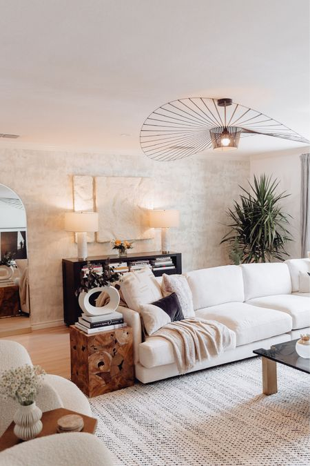 Living Room Decor // living room, decor, living room decor, home decor, coffee table, sofa, sectional, floor lamp, floor mirror, area rug, armchair, accent chair, pillow, pillow cover, white case, side table, table lamp, console table, chair, throw, media console, ottoman, bookcase, CB2  #LTKhome