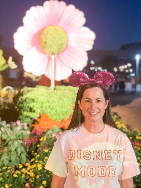 Pastel tie dye Disney tee with hot pink Minnie ears 💗 #LTKunder50 #LTKtravel #LTKstyletip