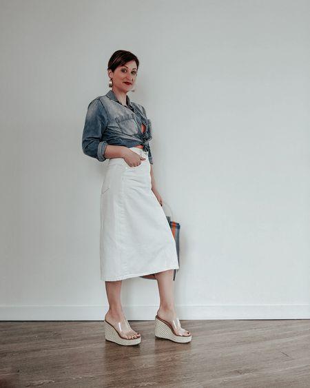 Styling a white denim midi skirt for spring.   #denimmidiskirt #denimskirt # #liketkit #springstyle #springoutfit  @liketoknow.it http://liketk.it/3cV8h