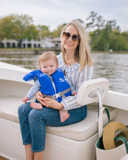 The perfect outfit for a spring day on the water... blue and white stripe blouse, cropped straight leg jeans, a sun hat, and a boat tote... slightly nautical and completely classic 💙 http://liketk.it/3czKq @liketoknow.it #liketkit