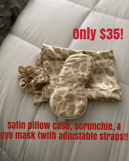 Perfect gift for MIL, SIL, sisters, mother, friends!  Satin pillow case with a scrunchie and an eye sleeping mask that adjust!   @liketoknow.it.home @liketoknow.it.family #LTKgiftspo #StayHomeWithLTK #LTKunder50 @liketoknow.it #liketkit http://liketk.it/31Aa6       Gift guide  Gifts for her Gift guide for her Satin pillow case Leopard pillow case  Satin scrunchie Christmas gifts  Christmas gift ideas  Gifts for mom Gifts for sisters Gifts for teens Nordstrom gifts