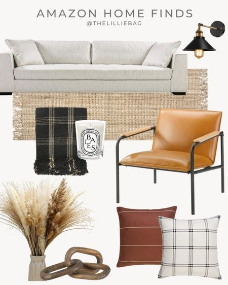 Fall decor finds from Amazon. Home decor finds. Neutral decor. Leather chair. Camel color. Dried arrangement. Couch and rug. Area rug. Amazon finds.   #LTKSeasonal #LTKunder100 #LTKhome