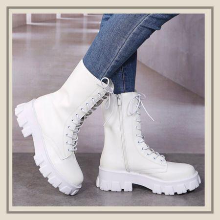 Lace up front white combat platform boots from Shein   #LTKunder50 #LTKshoecrush #LTKstyletip