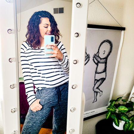 Casual Saturday mom outfit. Black and white stripped sweater and grey joggers. http://liketk.it/35yH4 Casual stay at home mom looks. @liketoknow.it #liketkit #LTKunder100 Download the LIKEtoKNOW.it app to shop this pic via screenshot