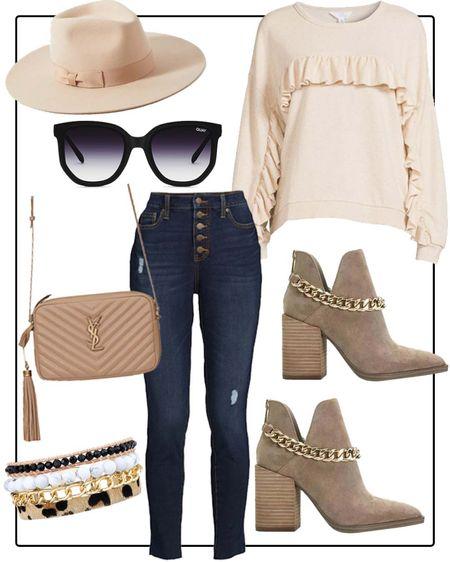 Outfit idea- Walmart ruffle sweatshirt, Walmart button fly jeans, gold chain booties, ysl bag    #LTKstyletip #LTKshoecrush #LTKunder50