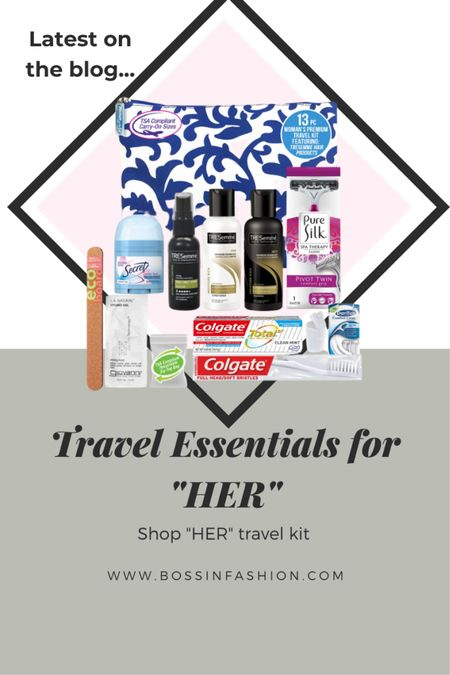 The best travel essentials for her going on a trip! I love mini vacation products! #vacationessentials #vacationtrip #toiletries #womantraveling #traveling #travelbag #minibag  #LTKtravel