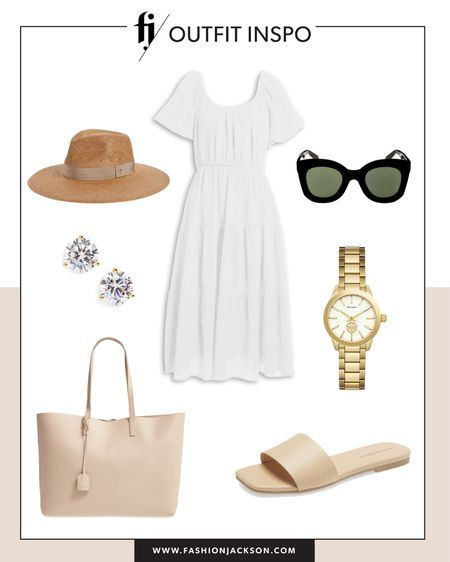 Love this under $100 white midi dress for summer. Dress it up or down with sneakers or sandals #summerdresses #dresses #whitedress #sandals #beachvacationoutfit    http://liketk.it/3hbTC #liketkit @liketoknow.it #LTKunder50 #LTKunder100 #LTKstyletip