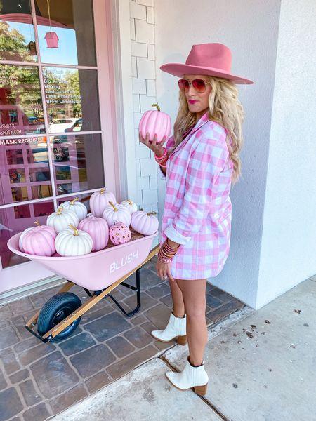 Pink plaid blazer size M  Matching pink skirt size M  White crop top size M White boots TTS  Pink hat  Fall style, workwear blazer, fall outfit, workwear look, concert inspo  Target gold hoops  Pink bracelet stack    #LTKsalealert #LTKstyletip #LTKunder50