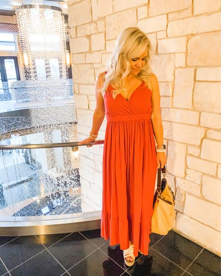 This is my currently looking down wondering where the tiny humans are!  Oh wait! They're with their aunt living their best lives while we live ours kid FREE! 🙌🏼 It feels good to get away for a night to celebrate our anniversary in style - aka asleep by 9 and sleeping in until our little eyes open. Cheers to Saturday! This little red number is currently on sale for 60% off, too! 🥳   http://liketk.it/3jYER #liketkit @liketoknow.it #LTKunder50 #LTKtravel #LTKunder100
