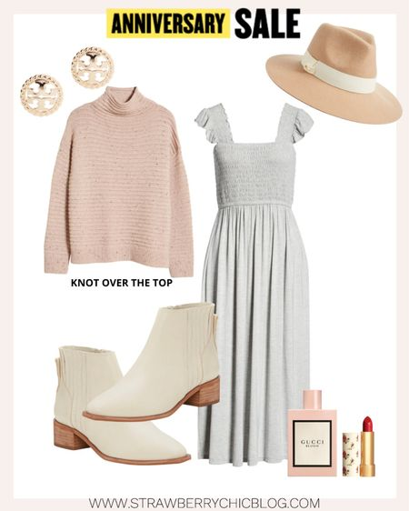 Layer a sweater and knot the end over a sleeveless maxi dress for cooler days throughout the fall. Pair with creamy white booties to finish the look.   #LTKstyletip #LTKSeasonal #LTKsalealert