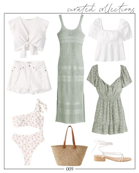 Summer whites and greens. How pretty is this crochet coverup? It also comes in white and cream if you're not ready for a dash of color! Everything pictured here will be an additional 20% off during the LTKDay sale this Friday-Sunday. Save this for then by tapping the heart icon!  Ltk day, ltkday, ltk day sale, ltkday abercrombie, ltk day abercrombie, ltk day sale abercrombie, ltkday dress, ltkday coverup, ltk day swim, ltkday picks, ltk day favorites, Natalie Yerger    #LTKunder100 #LTKDay #LTKunder50