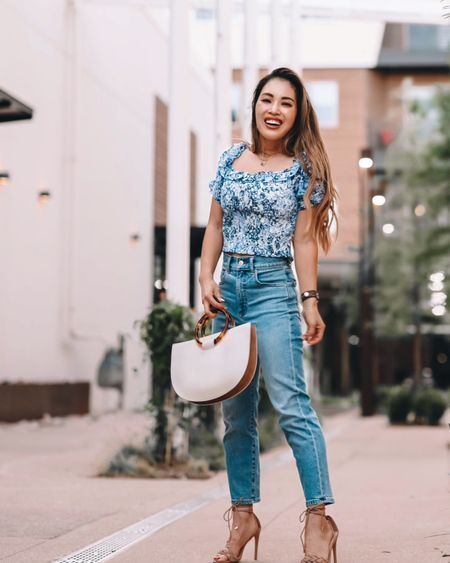 Express ruffle top - XS / TTS  Express High waisted petite mom jeans - 00 petite  Express braided lace up heels - 6 / TTS  Summer casual outfit    #LTKstyletip #LTKshoecrush #LTKunder100