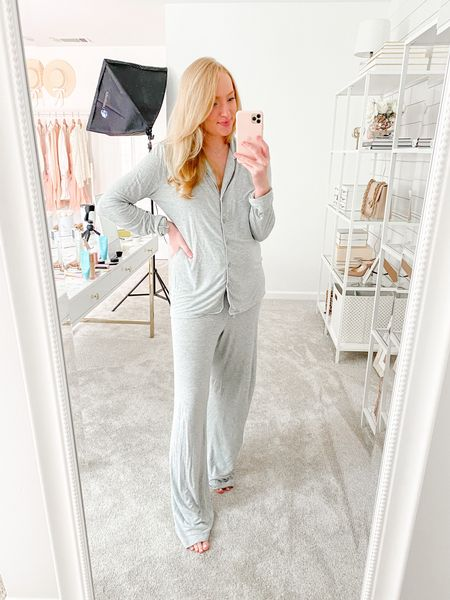 In stock pajamas from the Nordstrom Anniversary Sale- I've been living in these postpartum and they're nursing friendly. I bought the black this year to use as my self tanning pjs. Wearing a small   #LTKbump #LTKsalealert