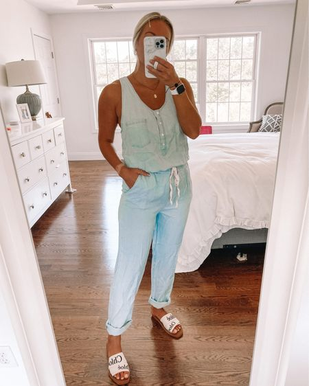 Chambray jumpsuit, pink lily, summer romper @liketoknow.it http://liketk.it/3hORD #liketkit