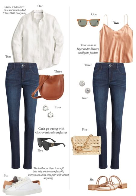 Two effortless looks - day to evening dinner/drinks.