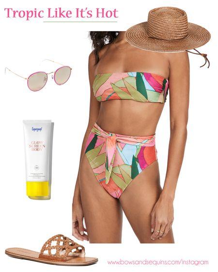 Bandeau Bikini, Brown Straw Hat Under $100, Pink Sunglasses, Glow Screen Body, Tropical Leaf High Waisted Bikini 🌴   #LTKbeauty #LTKtravel #LTKswim