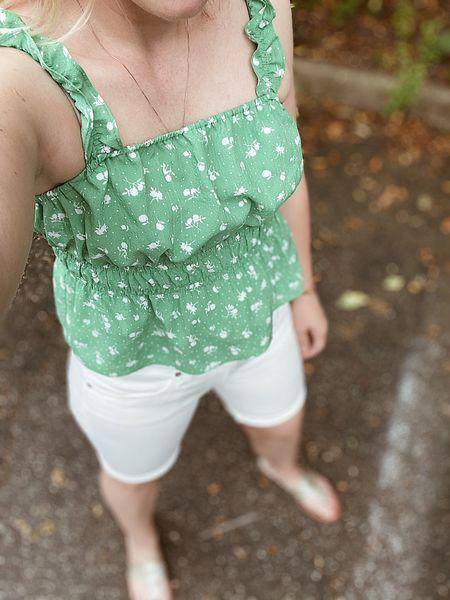 Summer outfit, beach vacation outfit, white denim shorts, long denim shorts  #LTKstyletip #LTKsalealert #LTKunder50