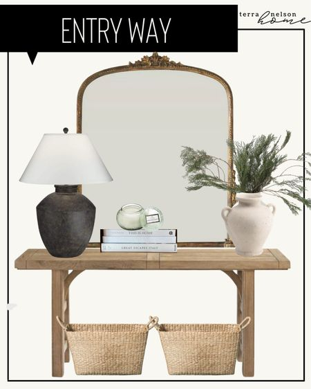 Entryway decor, organic decor, modern decor, neutral decor, lamp, living room decor, black lamp, ceramic vase, white vase, cedar stems, Christmas decor, home decor, gold mirror m, Anthropologie mirror, console table, entryway table, wooden table, skinny table, baskets, vintage mirror, coffee table books, white books, studio McGee, target finds, McGee and co, Amazon finds, amber interiors,   #LTKHoliday #LTKSeasonal #LTKhome