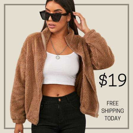 Zip up teddy jacket  #LTKstyletip #LTKunder50 #LTKunder100