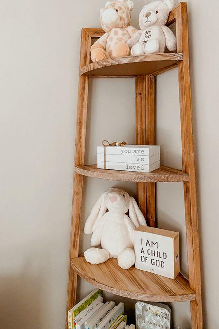 Our gender neutral nursery decor! 🤍 I especially love all of the stuffed animals. 😊 Click to shop! | baby room, woodland animals, kids bedroom, corner shelf, nursery artwork   #LTKstyletip #LTKbaby #LTKhome
