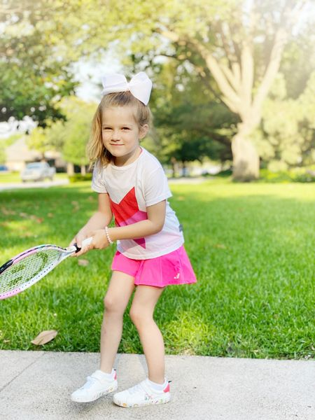Birdie is ready for tennis camp! Her outfit is old, linking a similar look below.    #LTKSeasonal #LTKunder50 #LTKkids