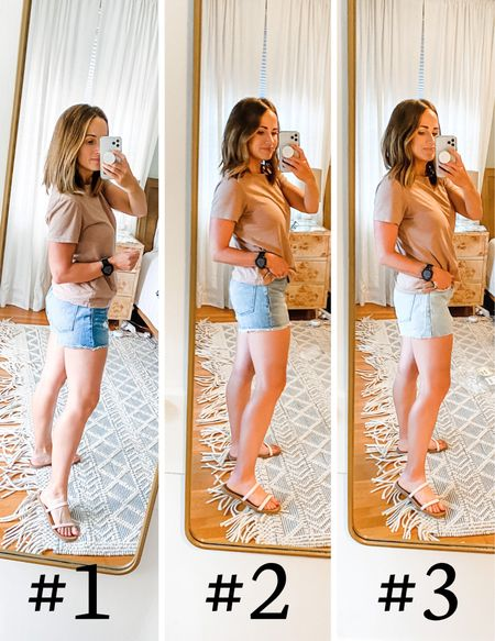 Madewell jeans shorts try-on!  1. These were my keepers! They are relaxed fit and have a little distressing on the front. Perfect! I sized down in these because they are relaxed fit  2. These are the Perfect Jean Short and I am wearing my normal size. I love them, but decided the relaxed fit felt better.  3. Another pair of the relaxed fit, just a lighter wash! I kept the first pair but loved all three!   #LTKunder100 #LTKswim #LTKSeasonal