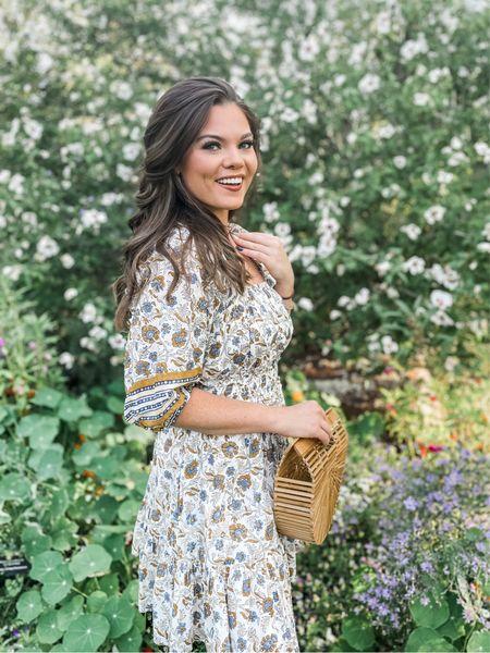 Cleobella long sleeve mini dress with boho bamboo handbag   #LTKwedding #LTKstyletip #LTKSeasonal