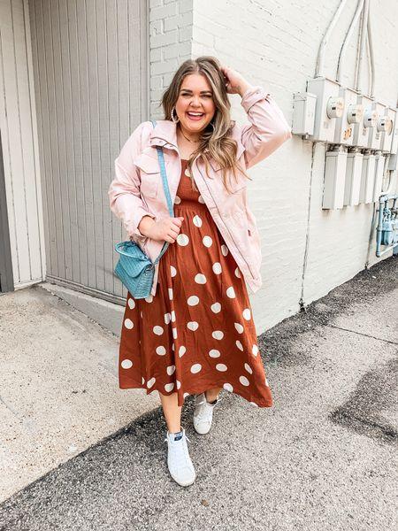 Polka dot midi dress in large. Pink utility jacket in xxl. Amazon purse. High top sneakers.   #LTKunder50 #LTKcurves #LTKunder100